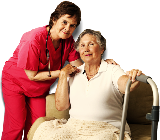 nurse and old woman smiling