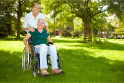 caretaker and her old woman patient