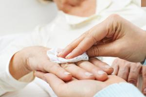 cleaning hands for personal hygiene